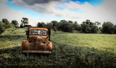 Alone by myself just me (13skies) Tags: road old trees windows sky green abandoned field neglect truck highway alone doors antique wheels front grill rusted vehicle left hdr clods