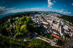Salzburg: View Over The Old Town (Explore) (svenpetersen1965) Tags: salzburg castle austria österreich view elevator fisheye altstadt oldtown festung hdr3px