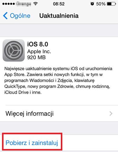 Instalacja iOS 8 iPhone 4S