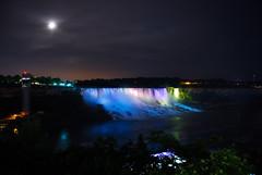 Niagara Falls (heiditc) Tags: longexposure travel sky moon mist holiday ontario canada nature water night reflections lights niagarafalls waterfall nikon colours niagara nightsky bridalveilfalls americanfalls d80