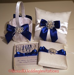 Matching luxury wedding invitation, flower girl basket and ring pillow (boxedweddinginvitations) Tags: wedding white ivory embellishments weddingset ringpillow flowergirlbasket ringbearerpillow luxurywedding luxuryweddingset ringpillowflowergirlbasketbridalsatinwhite bridalsatinpillow