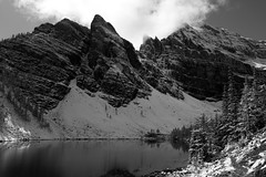 Monochrome Mountain (JB by the Sea) Tags: blackandwhite bw canada rockies alberta banff rockymountains lakelouise lakeagnes banffnationalpark canadianrockies september2014