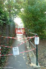Footpath closed (karenblakeman) Tags: uk thames footbridge september footpath caversham 2014 hillsmeadow