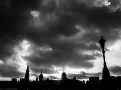 Tower Hill (cjcrosland) Tags: street city sky london silhouette skyline clouds lampost brooding toweroflondon theshard