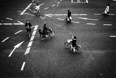 Everybody is different (tomorca) Tags: crosswalk bicycle people line fujifilm xt2 monochrome