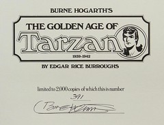 """Title Page in Burne Hogarth's """"The Golden Age of Tarzan: 1939-1942."""" NY: Chelsea House, 1977. Limited first edition. Signed by Burne Hogarth (lhboudreau) Tags: book books hardcover hardcovers hardcoverbook hardcoverbooks bookart art artwork drawings illustrations burroughs edgarriceburroughs erburroughs tarzancomics tarzancomicstrip tarzan comicstrips hogarth burnehogarth goldenage thegoldenageoftarzan sundaycomics sundaycomicstrips 19391942 kingsizedvolume comics illustration drawing sketch fullcolor chelseahouse mauricehorn firstedition limitededition signededition goldenageoftarzan 1977 apeman newspapercomics sketches newspapercomicstrips comicspage comicspages comicstrip comicpage chelseahousepublishers titlepage signed signature autograph autographed 3912000 no391 391"""