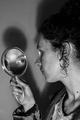 (BárbaraAraújo) Tags: mirror eye shadow portrait girl hair light dark bw