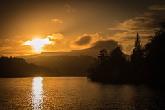 Sunset by the Lake (steelegbr) Tags: lochlomond scotland uk country countryside forest highlands lake mountains outdoors rocks rural sky sunset trees water