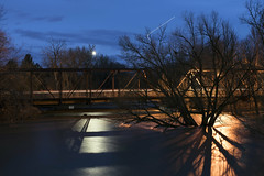 Boise River (Curtis Gregory Perry) Tags: boise idaho river night bridge tree shadow long exposure water reflection flood flooding 9th street 8th pedestrian longexposure nikon d800e