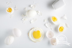 Eggs on white background. Overhead view (Alexandr Sherstobitov) Tags: boiled chicken chopped cooked cooking cracked cut delicious diet different eating egg eggshell fried half hardboiled healthy ingredient natural nobody nutrition organic protein raw salt shell slice sliced softboiled white whole yellow yolk blogeggs