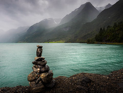 Cairns at Olden lake - Norway (nicolaspika) Tags: olympus traveller landscape travelphotography nature olden lake holiday clouds norway trees travel cairns trip landscapephotography lovely vacation mountain sognogfjordane no