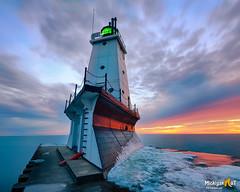 """Last Ice""  Ludington North Breakwater Lighthouse. (Michigan Nut) Tags: ludingtonlighthouse ludington michigan lighthouse lakemichigan pier sunset ice glow longexposure greatlakes sky landmark scenic clouds"