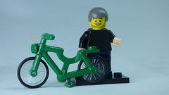 Brick Yourself Bespoke Custom Lego Figure Green Bicycle, Pink Hands