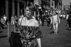 Fourteen Degrees (Leanne Boulton) Tags: people monochrome portrait urban street candid portraiture streetphotography candidstreetphotography candidportrait streetportrait eyecontact candideyecontact streetlife woman female girl face facial expression pout look emotion feeling spring springtime fashion style stylish pattern flowers print dress shoulders tone texture detail depthoffield naturallight sunlight light shade shadow city scene human life living humanity society culture canon canon5d 5dmarkiii 70mm character ef2470mmf28liiusm black white blackwhite bw mono blackandwhite glasgow scotland uk