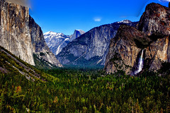 The World In A Valley (Aspenbreeze) Tags: yosemite yosemitenationalpark nationalpark halfdome bridalveilfalls falls waterfalls waterfall graniterockformations snowcoveredpeaks trees forest nature california landscape bevzuerlein aspenbreeze moonandbackphotography