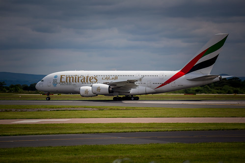Emirates Airbus A380 at Manchester Airport