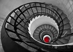 Lighthouse staircase (V Photography and Art) Tags: red blackandwhite lighthouse monochrome stairs spiral mono looking curves down staircase railings spiralstaircase selectivecolour