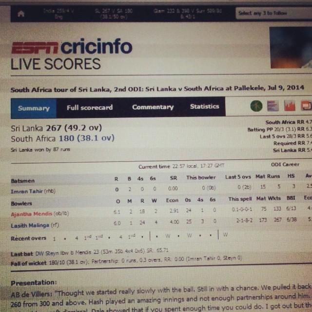 #TCGDS12 #scoreboard #espncricinfo South Africa tour of Sri lanka 2014 2nd #ODI  #slc won by 87 runs Gud Feat!! #cricket <3 #100happydays #100HPTCGDS12 #day83