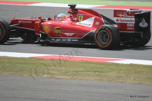 Fernando Alonso in his Ferrari during Free Practice 2 at the 2014 British Grand Prix