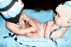 twinkies (stacyhathaway30) Tags: family blue boy baby cute boys portraits asian twins babies sweet adorable mexican sockmonkeys fraternal marcelo props 9months twinsmateo