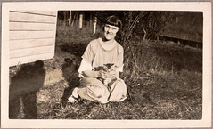 0906B Lady with a cat #2 (GSofV) Tags: 1920s pet lady cat australia victoria photographersshadow gsv albumj