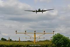KLM DC-3 PH-PBA Short Finals (Mark_Aviation) Tags: old classic plane newcastle airplane lights airport aircraft wwii flight landing ww1 klm approach dc3 dakota ncl egnt phpba retroklm