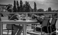 the hour of repose La Cale (ElyMohr) Tags: woman man sunday terrasse nb cocacola sweetness sieste nex sonynex