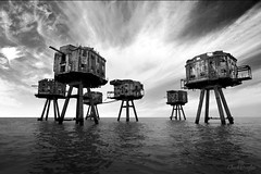 Red Sands: Maunsell Fort (Chuck Douglas Photography) Tags: blackandwhite seascape abandoned clouds landscape skies tripod monotone eerie creepy scifi disused exploration derelict worldwar waroftheworlds maunsell antiaircraft urbex seafort redsands shiveringsands projectredsand maunsellseafort