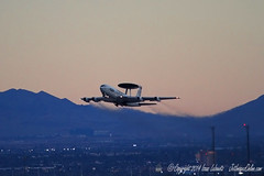 E-3B AWACS departs on night mission (JetImagesOnline) Tags: red force flag air jet boeing usaf base 143 awacs nellis e3b