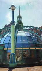 The Green Dome (Seeing Visions) Tags: reflection texture window glass japan shop architecture tokyo victorian disney spire jp dome themepark julesverne tokyodisneysea steampunk maihama 2014 mysteriousisland nautilusgifts raymondfujioka