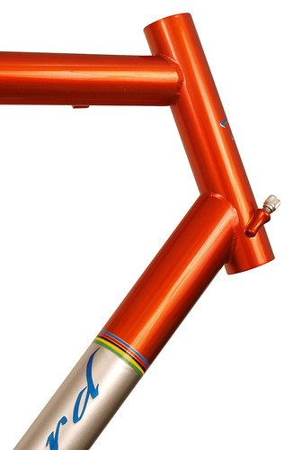 <p>Head tube detail of Waterford 33-Series Race Ready in Orange Glow over Sterling SIlver with Silver Panels and Waterford's world Championship color bands.</p>