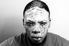 Giving You Evils (smithanyaphotography) Tags: uk light boy portrait england people blackandwhite bw white man black male face 35mm dark hair photography photo blackwhite model eyes nikon europe creative lips gb zimbabwe dslr wiltshire britan 2014 d7000