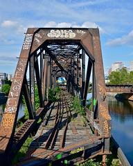 VIA 37 and old CN swing bridge (Michael Berry Railfan) Tags: train quebec viarail ge generalelectric peelbasin p42dc genesisseries via909 sthyacinthesub via37