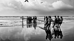 Fishermen | Digha, West Bengal (Shankha Suvra) Tags: morning bw india beach fishing westbengal digha