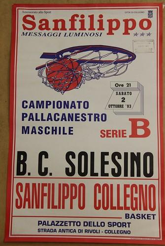 Manifesto Collegno Basket vs. Solesino - Serie B Maschile