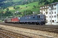 11662 + 11367  Airolo  17.07.95 (w. + h. brutzer) Tags: airolo eisenbahn eisenbahnen train trains schweiz switzerland railway elok eloks lokomotive locomotive zug 620 re66 sbb webru analog nikon