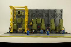 T-47 Sheridan Walking Tank - Factory 06 (Happy Weasel) Tags: factory tank lego rosietheriveter wwii ww2 mecha wildstyle dieselpulp