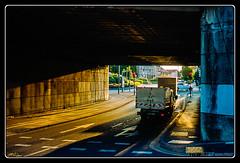 Under the Bridge (Maestr!0_0!) Tags: street leica bridge blue color film car yellow truck golden camion pont epson hours van rue couleur argentique minilux summarit v700 houilles