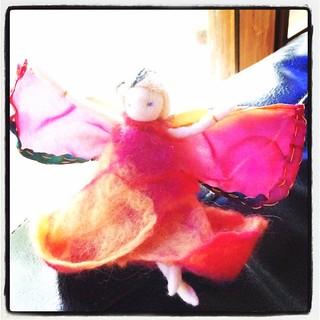 365/223 • a beautiful felted fairy doll the Ellise made for Olivia on her fourth birthday • #2014_ig_223 #felt #love #birthday #craft #emerald