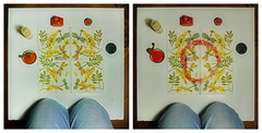 """""""an apple a day keeps the doctor away - An ENSO (Japanese: circle) a Day ..."""" 7. Sept 2014: Diamond Seat, Diamantensitz - Napkin from the Lunch my Mother cooked: Stuffed Peppers, Tomato Sauce, Rice. Orange Circle drawn with the Pepper Stem. Sonntagsessen"""