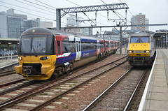 333014 2P30 departs Leeds for Bradford Forster Square with 82203 standing alongside 16.09.2014 (pokeyphoto) Tags: leeds emu eastcoast dvt northerntrains class333 82203 333014
