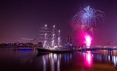 Firework during the Tall Ships Festival 2014 (john_ly_uk_) Tags: pink festival thames night river ships royal firework tall arsenal woolwich 2014