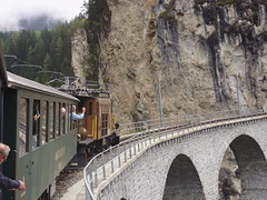 On the Landwasser Viaduct (mostlybytrain) Tags: train spiral loco locomotive bahn narrowgauge lok krokodil rhb grisons graubunden schmalspur