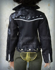 Jacket made of leather for SD dolls. (Nika-Nika) Tags: leather clothing doll dress clothes sd jacket bjd