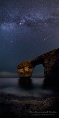 A Perseid meteor over the Azure Window in Gozo with the Milky Way, Deneb and Vega (gvancell) Tags: sea sky seascape night stars mediterranean malta astrophotography nightsky vega nightscapes gozo milkyway deneb dwejra azurewindow perseids starscapes astrophotographymalta