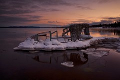 fish tug, batchawana bay, ontario (twurdemann) Tags: 03ndsoftgrad abandoned batchawanabay batchewanafirstnation beach boat decay derelict fishtug fishingboat highway563 horizon lakesuperior leeseven5 ontario seascape shipwreck shoreline sky sunset toad water winter