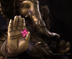 The GOD of small Things - MM - Made of Metal (LOVE.OVER.LUST.) Tags: mm macromondays madeofmetal brass metal faith religion belief hinduism flower macro ganesha ganpati god idol statue hand blessings carvings