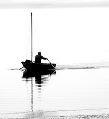 Coming ashore. (pstone646) Tags: boat rowing person blackandwhite estuary monochrome kent sea reflections oare silhouette water photography silhouettephotography