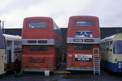 Pennine Blue 7093 (WBN 971L), 7134 (XJA 525L) (SelmerOrSelnec) Tags: pennineblue leyland atlantean parkroyal wbn971l xja525l ashtonunderlyne guidebridge beeline ribble selnec gmt bus