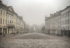 Tartu Town Square in the fog (neilalderney123) Tags: ©2017neilhoward olmpus landscape cityscape fog tartu estonia weather foggy